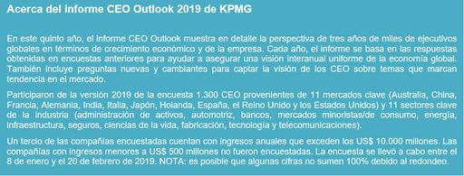 Acerca del informe CEO Outlook 2019 de KPMG