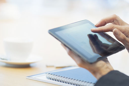 Superannuation fund information on tablet device