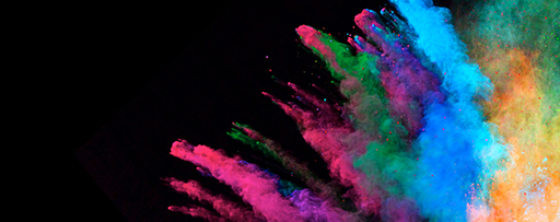 Colourful powder explosion