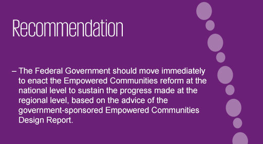 Recommendation for empowering Indigenous communities