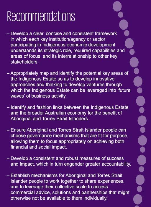 Recommendations for unlocking the potential of the 'Indigenous Estate'
