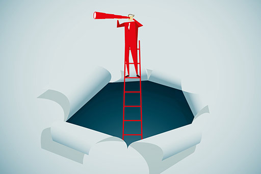 Man standing on ladder looking out using a telescope