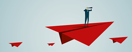 Man standing on red paper plane