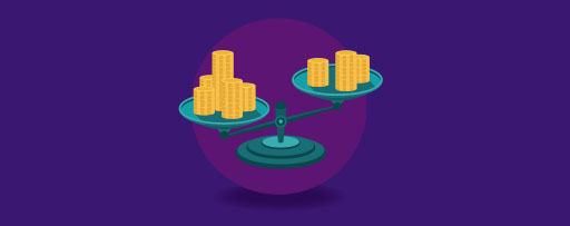 Scales with gold coins illustration
