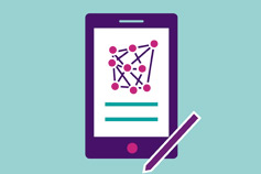 Illustration of purple smartphone and stylus with a white screen on a teal background