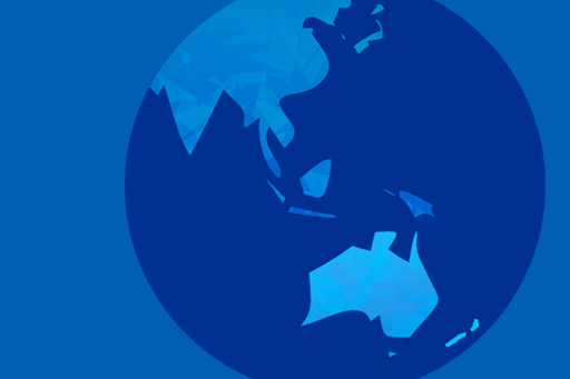 Globe featuring the Asia Pacific region