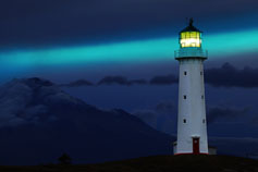 Cape Egmont lighthouse at night