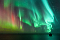 Colourful aurora borealis in Iceland