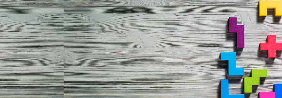 Geometric shapes on a wooden background