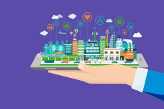 Hand holding smart city – Illustration