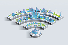 Illustration of a smart city connected wirelessly