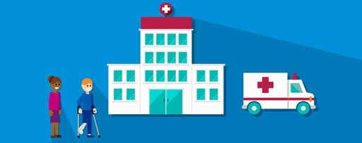 Illustration of hospital with ambulance and patients