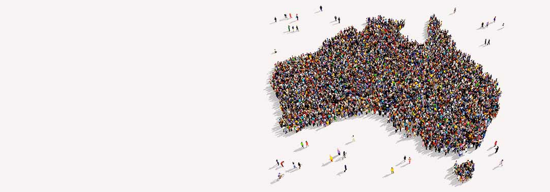 Large group of people forming shape of Australia