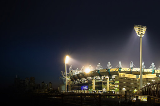 Melbourne cricket ground at night