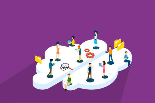 People working on a cloud – Illustration