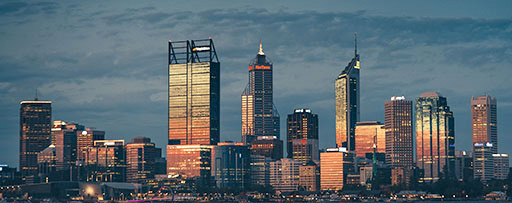 Perth city skyline at sunset