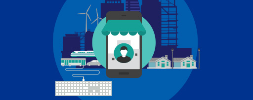 Smart city illustration with technology, infrastructure, energy icons