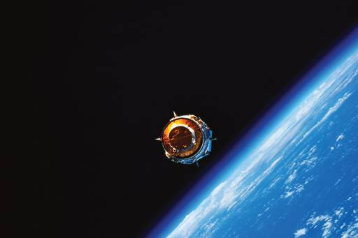 View of a satellite in orbit above earth