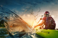 Water splash from canoeist paddle