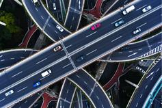 Aerial view of a freeway overpass