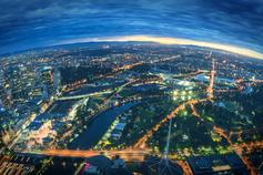 Aerial view of Melbourne, Australia at night