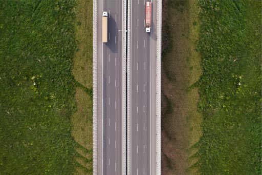 Aerial view of trucks on a highway