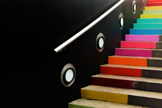 Steps painted in rainbow colours