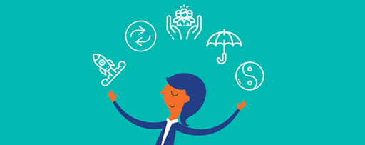 Businesswoman juggling icons above her head illustration