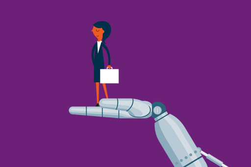 Businesswoman standing on a robotic hand