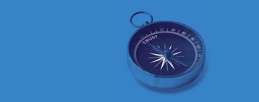 Compass pointing to the word trust