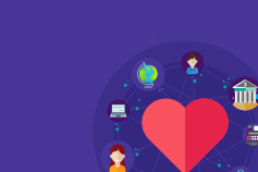 Illustration of customer experience icons around a loveheart