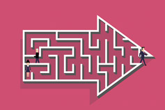 People within an arrow maze
