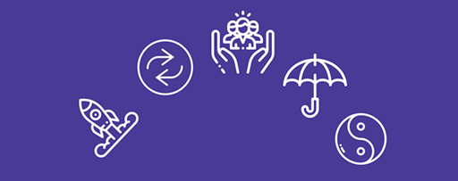 Icons on purple background