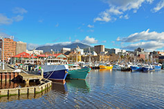 Fishing boats moored to quay in Hobart harbour