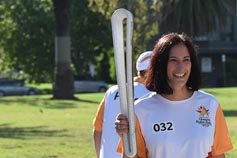 Catherine O'Malley participating in the Queen's Baton relay in Melbourne