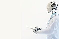 Humanoid robot doctor wearing medical gown and holding a tablet device