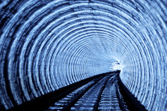 Illuminated train tunnel