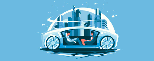 Future autonomous car illustration
