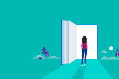 Illustration of woman looking into large book doorway