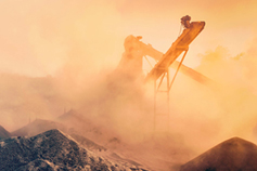 Open pit mining processing stone and gravel