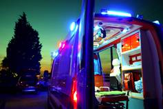 Rear view of inside an ambulance at night