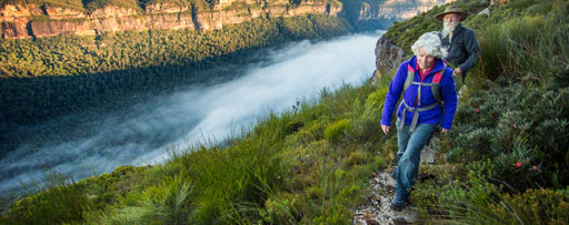 Senior couple bushwalking in the spectacular Australian Blue Mountains