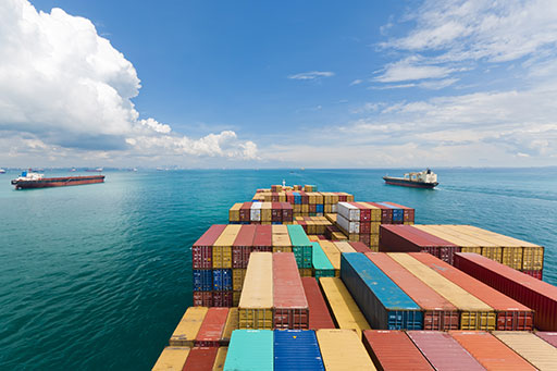 shipping containers on a cargo ship