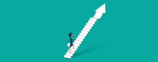 Illustration of woman climbing stairs shaped like an arrow
