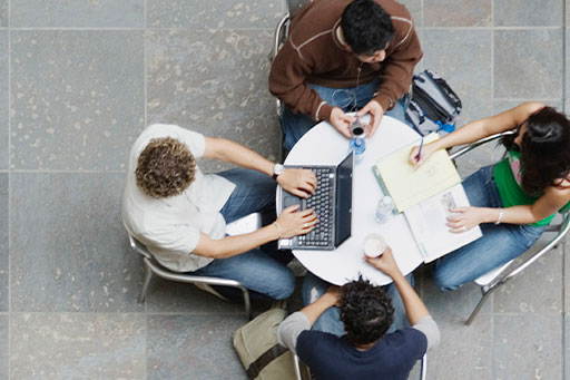 Aerial view of students studying together