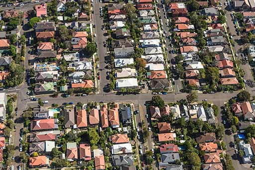 Sydney houses aerial view