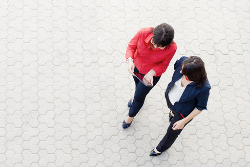 Business women viewed from above