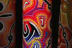 Colourful Australian indigenous didgeridoo