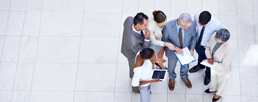 Aerial view of business people working together as a team