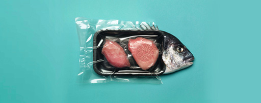 Fish wrapped in plastic packaging